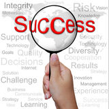 Success, word in Magnifying glass Royalty Free Stock Photography