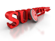 SUCCESS word with red dart arrow in center of target. 3d render illustration Stock Photo