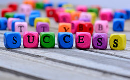 Success word on table. Success word on wooden table Royalty Free Stock Photo