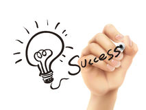 Success word written by 3d hand Stock Photography