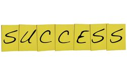 Success word in yellow notes on white background Royalty Free Stock Images