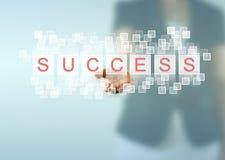 SUCCESS words above woman hand Stock Photos