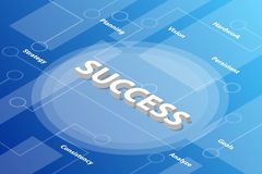Success words isometric 3d word text concept with some related text and dot connected - vector. Illustration stock illustration