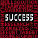 Success-words. Success skill solution teamwork marketing planning research analysis goal effort target business growth strategy red words on black background Stock Images