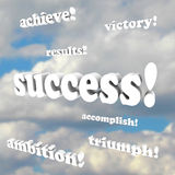 Success Words - Victory, Ambition. The words success, victory, ambition, accomplish and more 3d phrases against a cloudy sky Royalty Free Stock Photography