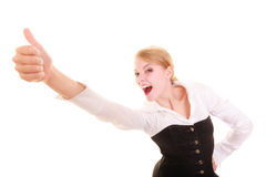 Success in work. Businesswoman celebrating promotion Royalty Free Stock Photos