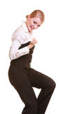 Success in work. Businesswoman celebrating promotion Royalty Free Stock Photography