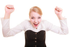 Success in work. Businesswoman celebrating promotion Stock Images
