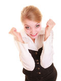 Success in work. Businesswoman celebrating promotion Royalty Free Stock Images