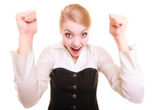 Success in work. Businesswoman celebrating promotion Stock Photo