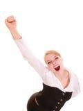Success in work. Businesswoman celebrating promotion Stock Photos