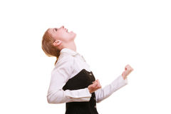 Success in work. Businesswoman celebrating promotion Stock Image