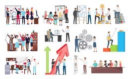 Success at Work and Growth Vector Illustration. Success at work and its celebration, growth shown on interactive board and people at meeting listening to Royalty Free Stock Images