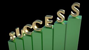 SUCCESS written in 3D green font with up going arrow. 