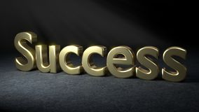 SUCCESS written in gold 3D letters. Stock Image