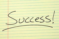 Success! On A Yellow Legal Pad Royalty Free Stock Photo
