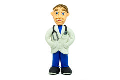 Success young doctor smiling made in plasticine Stock Photography