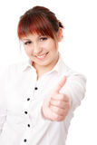 Success. Young successful woman smiling gesturing with her hand looking at camera isolated Stock Images