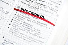 Successful. Word Successful dictionary definition marked by red Royalty Free Stock Photo