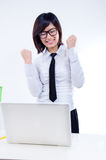 Successful. Picture of corporate woman with successful expression at her workplace royalty free stock image