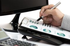 Successful accountant working. With financial data Royalty Free Stock Photography