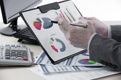 Successful accountant working. With financial data Royalty Free Stock Photos
