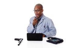 Successful African American man doctor, weapon Royalty Free Stock Photography