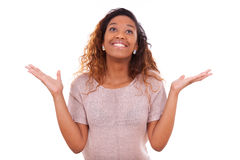 Successful african american woman with arms up expressing her jo Royalty Free Stock Images