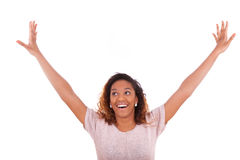 Successful african american woman with arms up expressing her jo Royalty Free Stock Photos