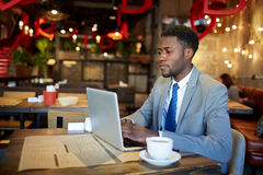 Successful African Businessman Busy Working in Cafe. Portrait of confident African American man wearing business suit busy working with laptop at table in cafe Stock Image