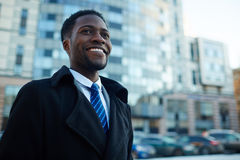 Successful African Businessman Smiling Outside Office Building Stock Photography