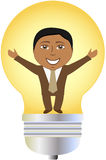 Successful afro american businessman in bulb Royalty Free Stock Photography