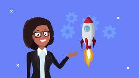Successful afro businesswoman with rocket startup and gears