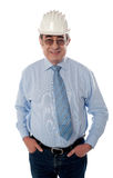 Successful aged builder posing in style Stock Photography