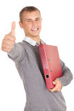 successful ale student with file binder Stock Photo