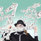 Successful American businessman with lots of money Stock Image