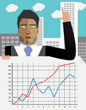 Successful annual report. Presentation chart info. Vector illustration Royalty Free Stock Image