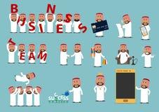Successful arab businessman cartoon character set Stock Images