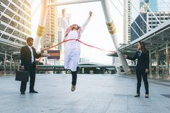 Successful arab businessman on the finishing line stock images