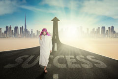 Successful Arab worker with Success word Royalty Free Stock Image