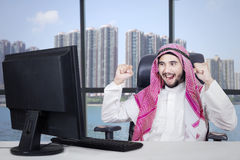 Successful Arabian businessman in office Royalty Free Stock Images