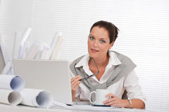 Successful architect business woman work at office Royalty Free Stock Photos