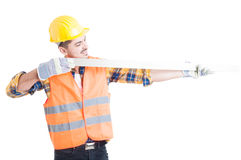 Successful architect holding a meter instrument as precise measu Royalty Free Stock Image