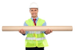Successful architect presenting blueprints Royalty Free Stock Images