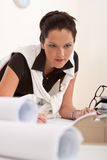 Successful architect woman working at office Royalty Free Stock Images