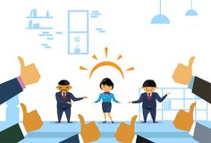 Successful Asian Business Woman With Many Thumbs Up From Collegues. Flat Vector Illustration Royalty Free Stock Images