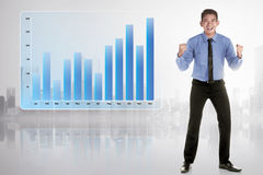 Successful asian businessman with growing graph in digital scree. N on beside his Royalty Free Stock Images