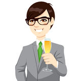 Successful Asian Businessman Toasting Champagne Stock Photos