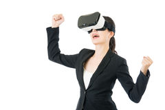 Successful asian woman arms up with VR headset glasses Stock Images
