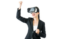 Successful asian woman arms up with VR headset glasses Royalty Free Stock Image